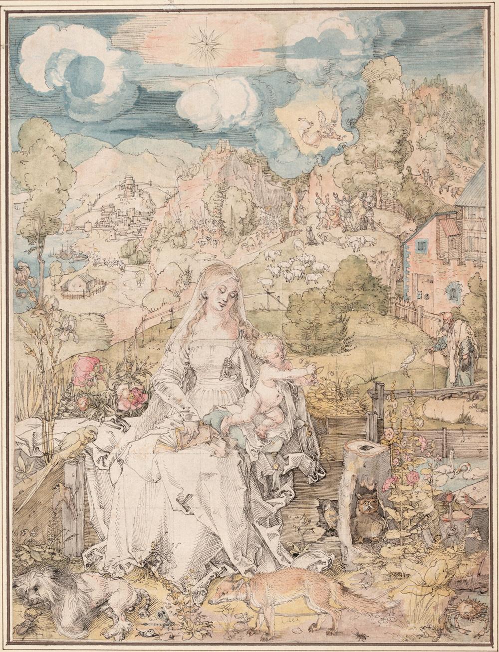 Albrecht Durer, Maria mit den vielen Tieren, um 1503, Feder in Schwarzbraun, Aquarell, feiner Raster in schwarzer Kreide, -, Grafische Sammlung der Albertina, Wien