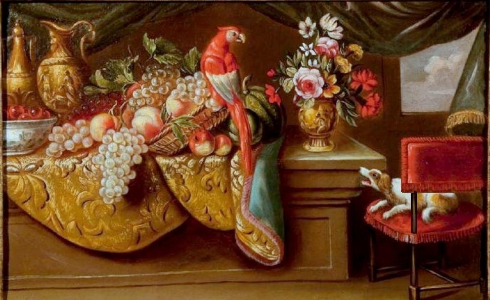 Chien et perroquet (toile de Reynaud Levieux 1613 à1699) modifie.