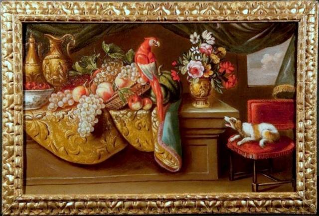 Chien et perroquet (toile de Reynaud Levieux 1613 à1699).