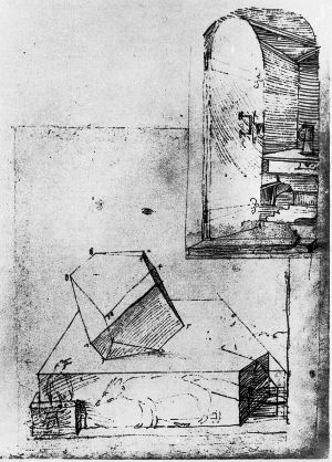 Dresdner Skizzenbuch — Zeichnung zum Polyeder der Melancholie und Blick in ein Zimmer mit Kanne .