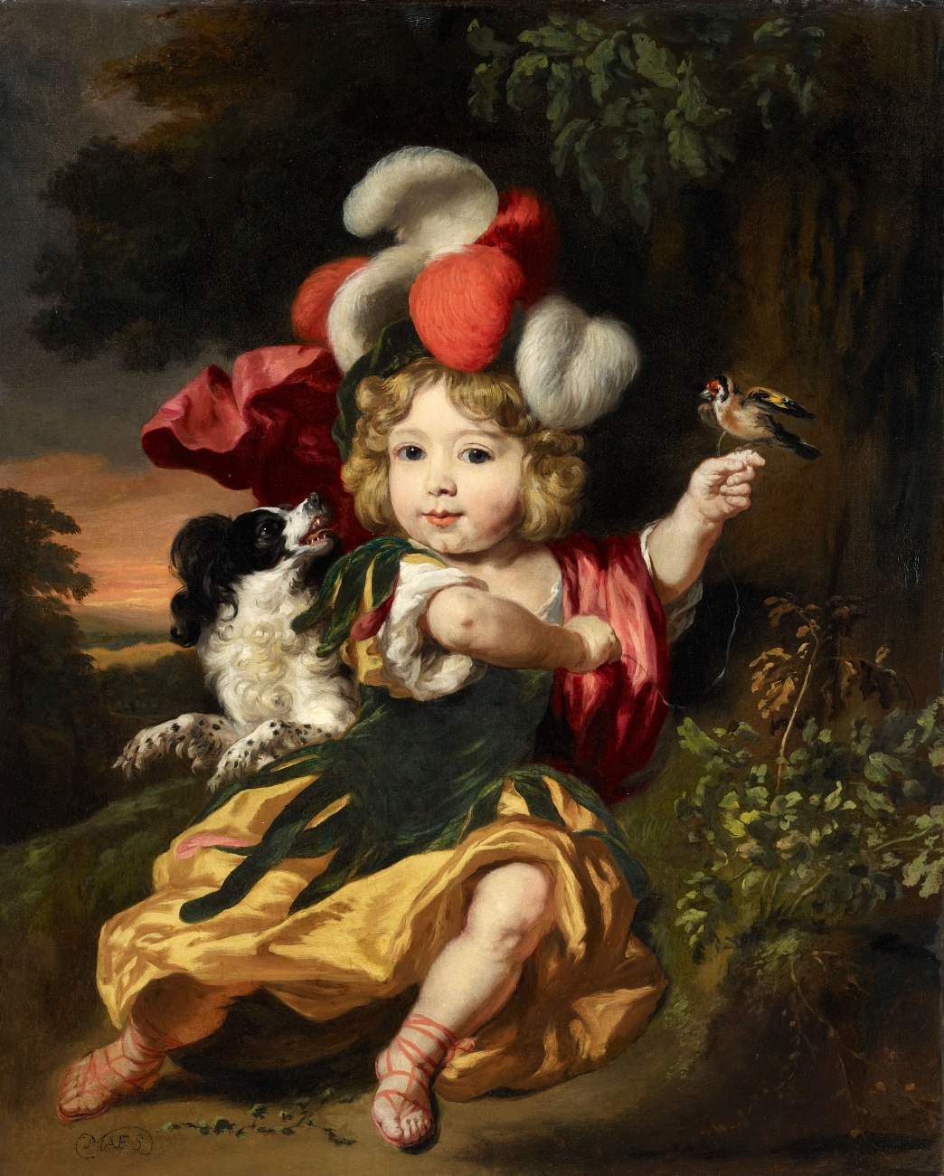 OC_1660 ca Nicolaes Maes (Dutch artist, 1634-1693) 0Boy in a Classical costume with a finch on his hand and a dog by his side private coll