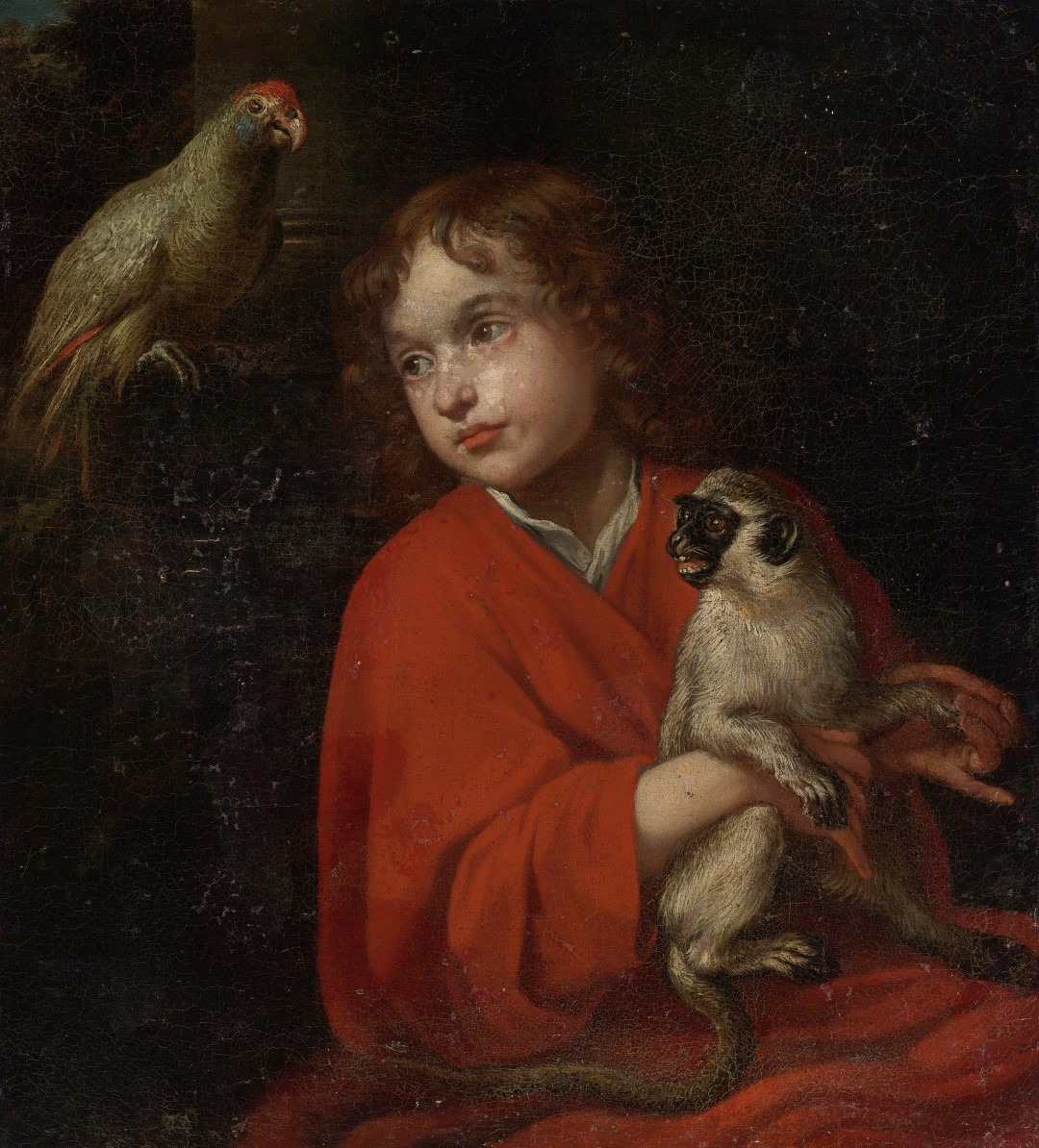 SP_1620-40 Jacob_van_Oost_de_Oudere_-_Parrot_watching_a_Boy_holding_a_Monkey