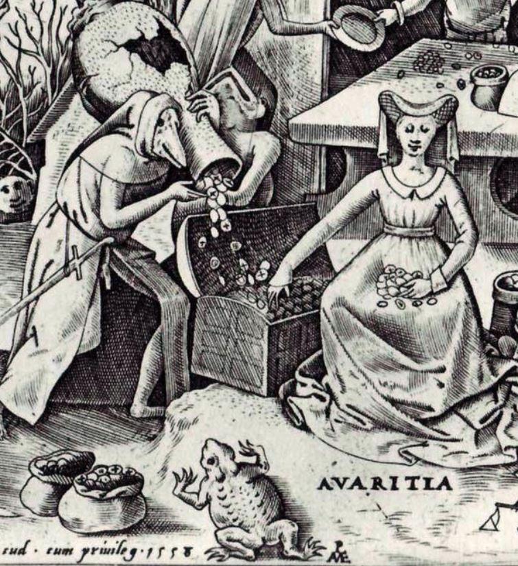 1558 Rops Avaritia . Pieter van der Heyden after Pieter Bruegel the Elder