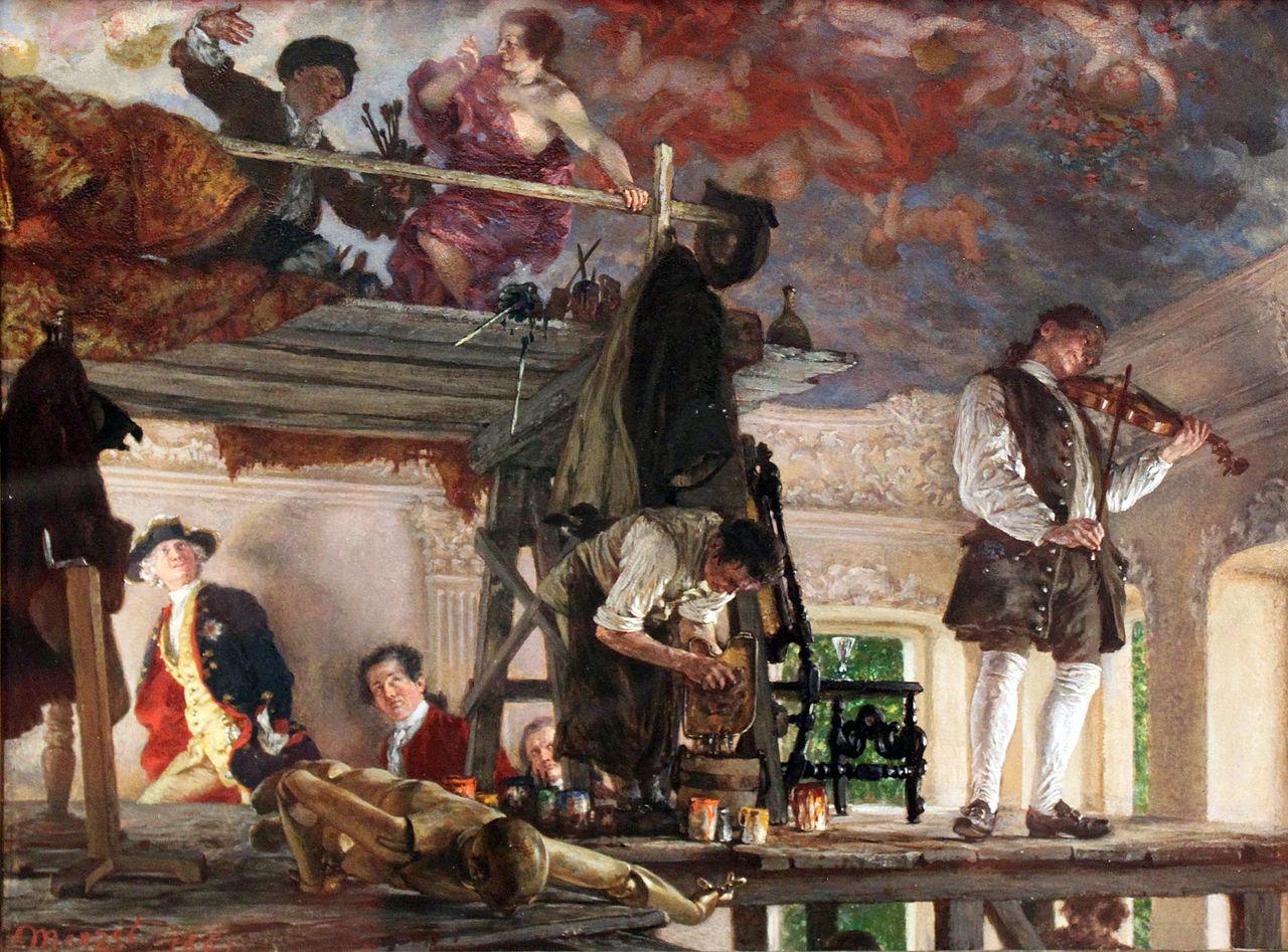 1861 Menzel Adolph Kronprinz Friedrich besucht den Maler Pesne auf dem Malgerust in Rheinsberg. г. Alte Nationalgalerie Berlin