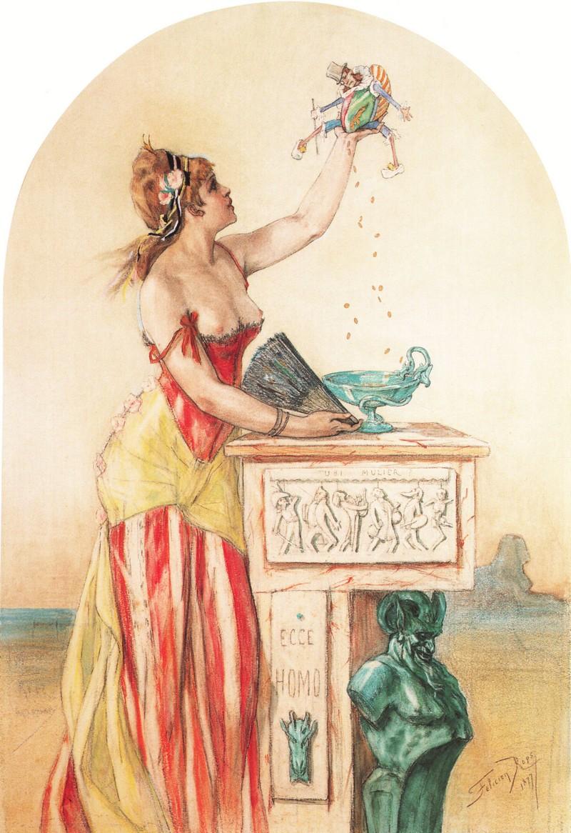 1877 _Rops_-La_Dame_au_pantin Coll Babut du Mares, Namur