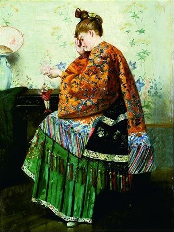 1882 (avant) Louis Charles Verwee Jeune femme jouant avec un pantin