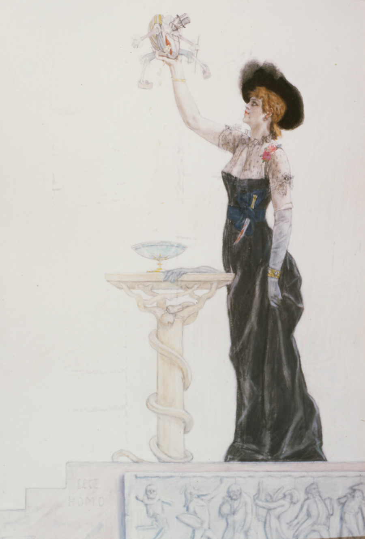 1883-85 Rops Dame au Pantin  Robe noire