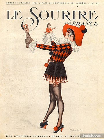 1918-maurice-pepin-harlequin-costume-disguise-marionette-puppet-hprints-com