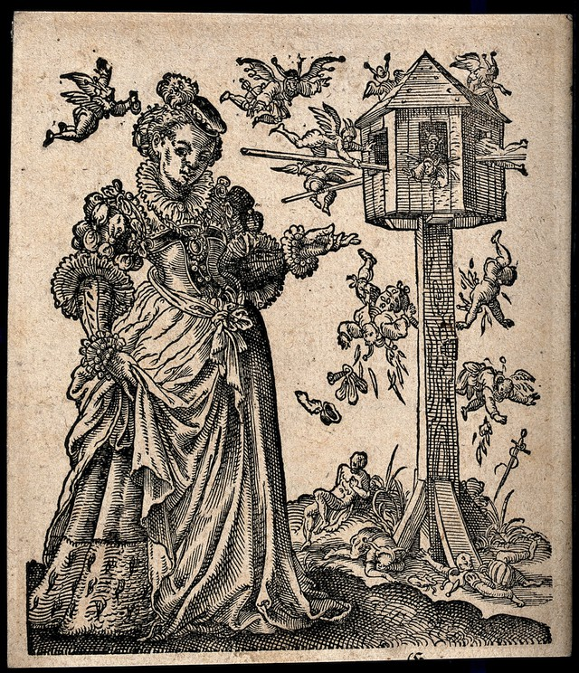 A sumptuously dressed lady gestures towards a mid-air battle between winged fools; small injured figures fall from a bird-house like edifice. Woodcut by Tobias Stimmer, 1580.