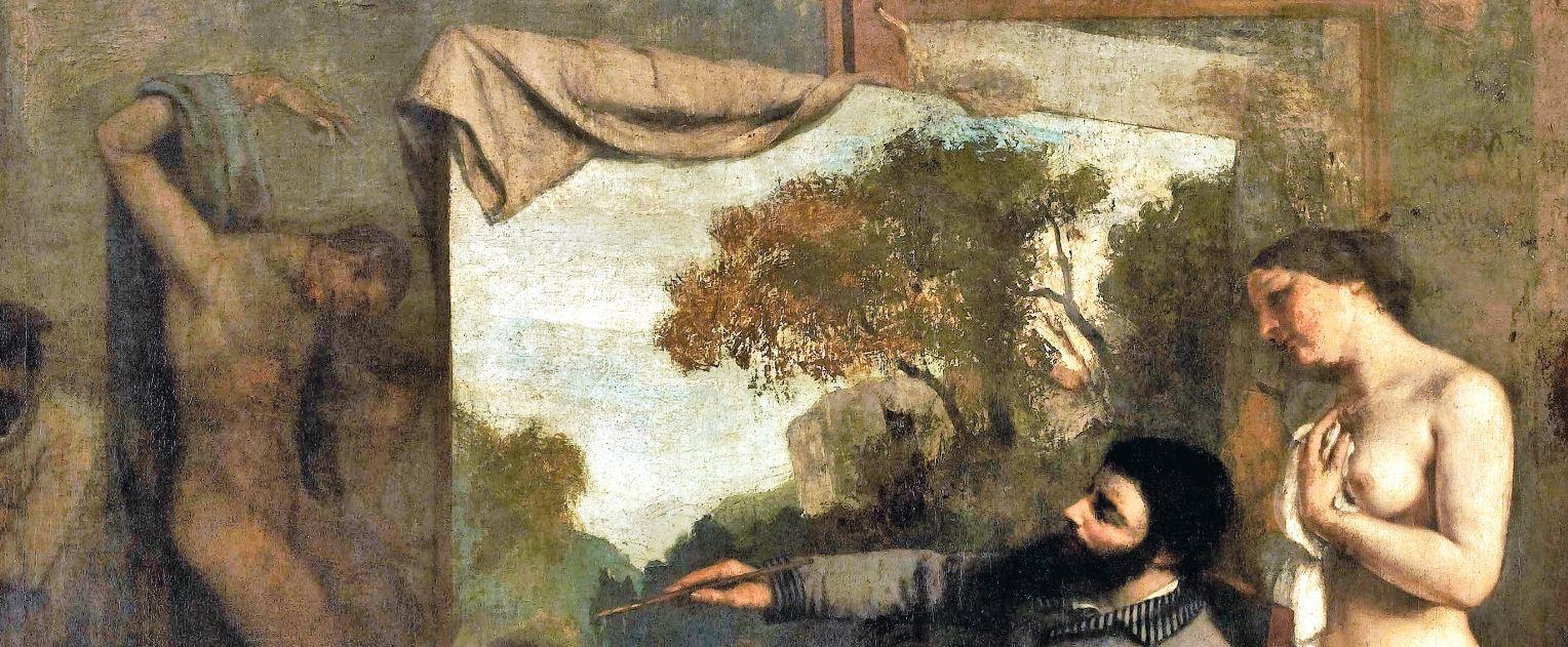 Courbet_LAtelier_du_peintre 1855 Orsay detail tissu