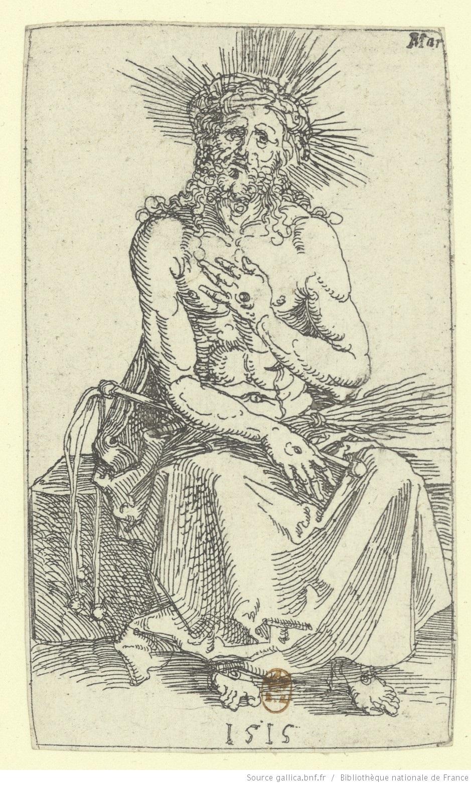 Durer Autoportait en homme de douleur 1515