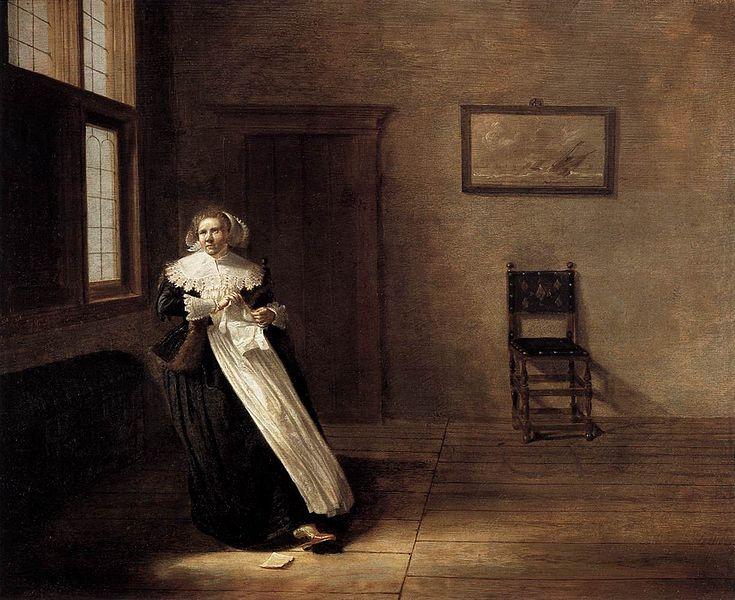 Femme dechirant une lettre, Dirck Hals, 1631, Mittelrheinisches Landesmuseum, Mainz