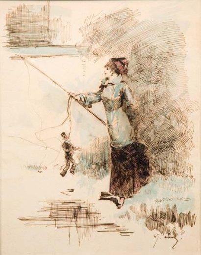 HFF 1880 cc HENRY SOMM Une jeune femme ayant attrape un homme a la canne a peche