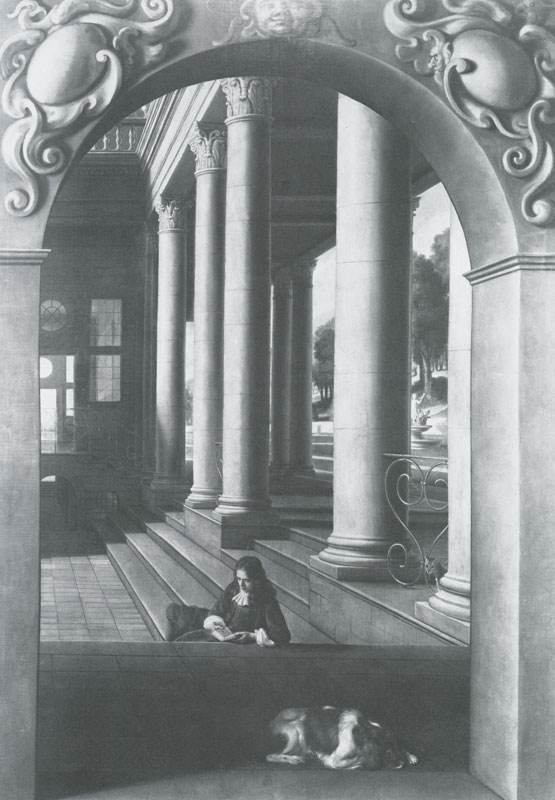 Hoogstraten Perspective portrait of a young man reading in the Courtyard Salisbury private collection