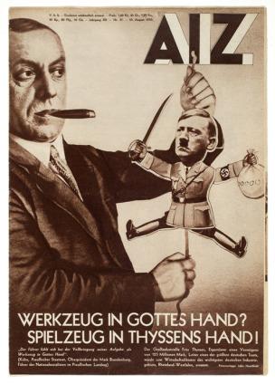 John Heartfield, AIZ, August 10, 1933 L'outil dans les mains de Dieu Le jouet dans celles de Thyssen