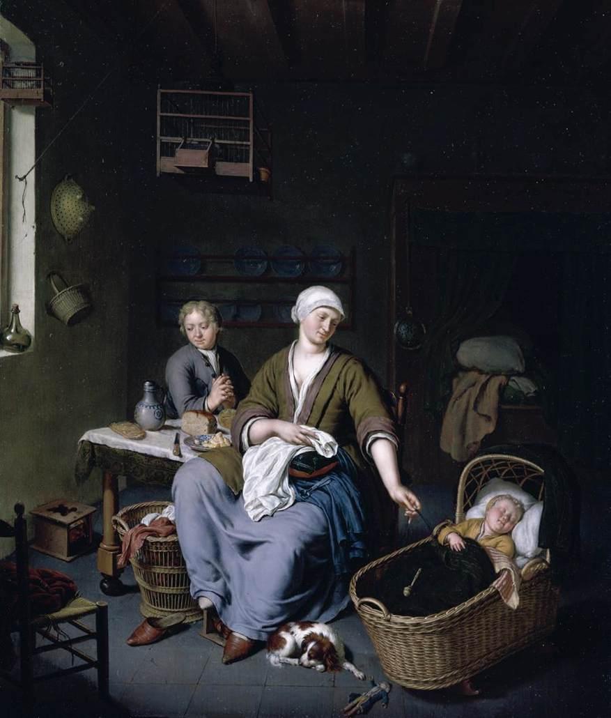 Mieris,_Willem_van_-_Interior_with_a_Mother_Attending_her_Children_-_1728
