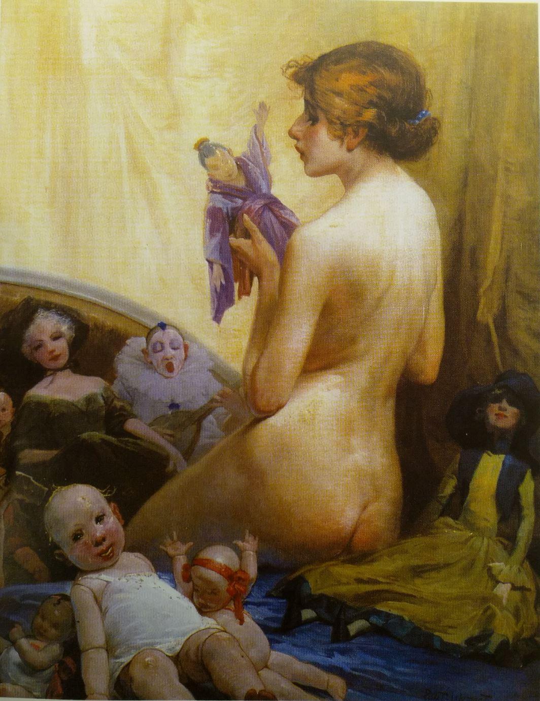 Privat Livemont 1931 Jeune femme nue aux poupees coll privee