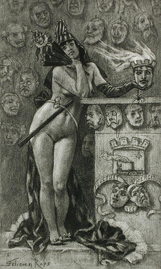 Rops Heliogravure avant 1870 repris en 1889 comme Frontispice pour les Masques Modernes de Felicien Champsaur