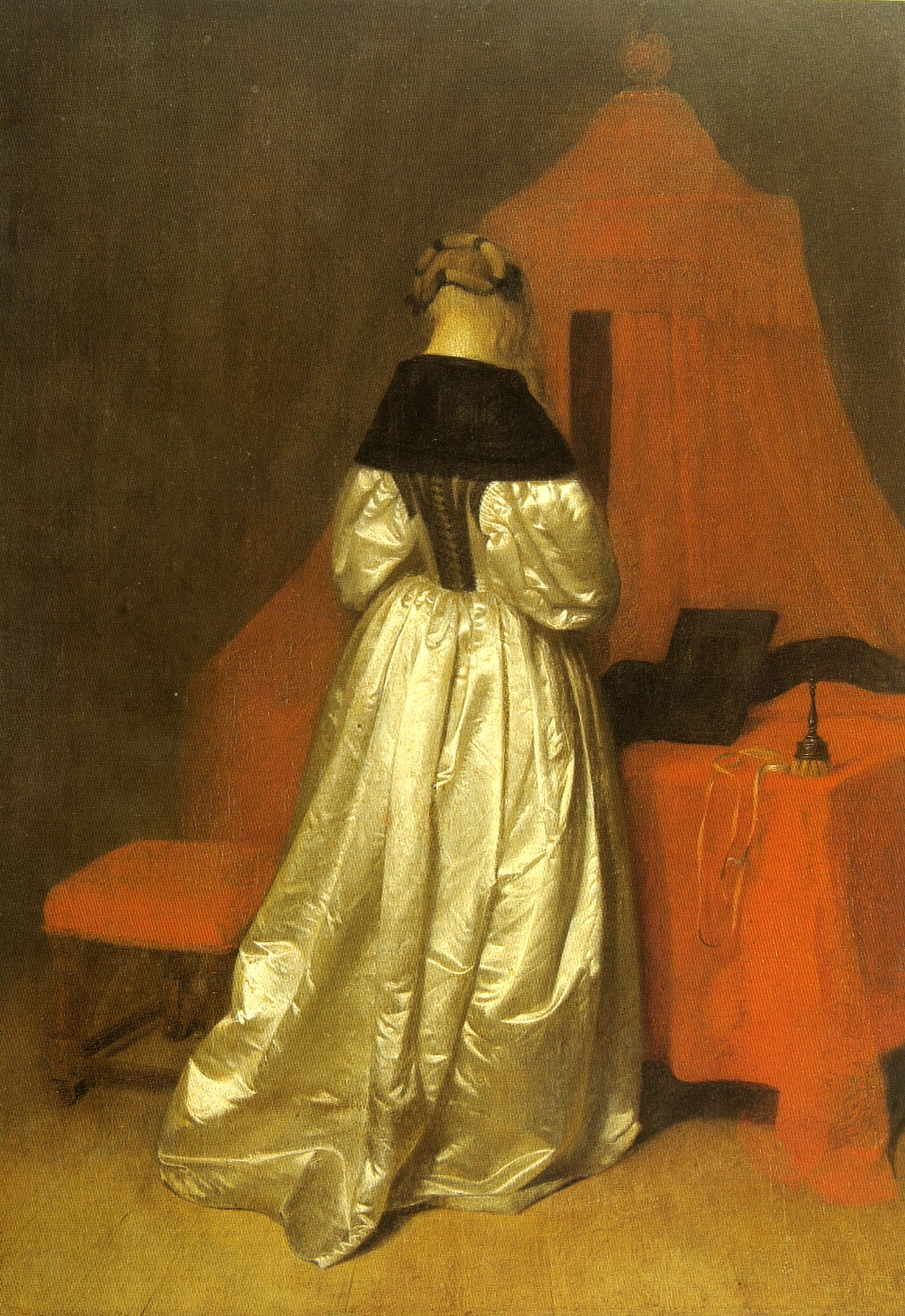 Ter Borch Woman in white sateen in front of a bed with red curtains c. 1655 Dresden, Gemaldegalerie, Alte Meister