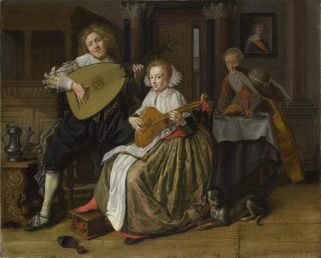 molenaer-young-man-woman-making-music-