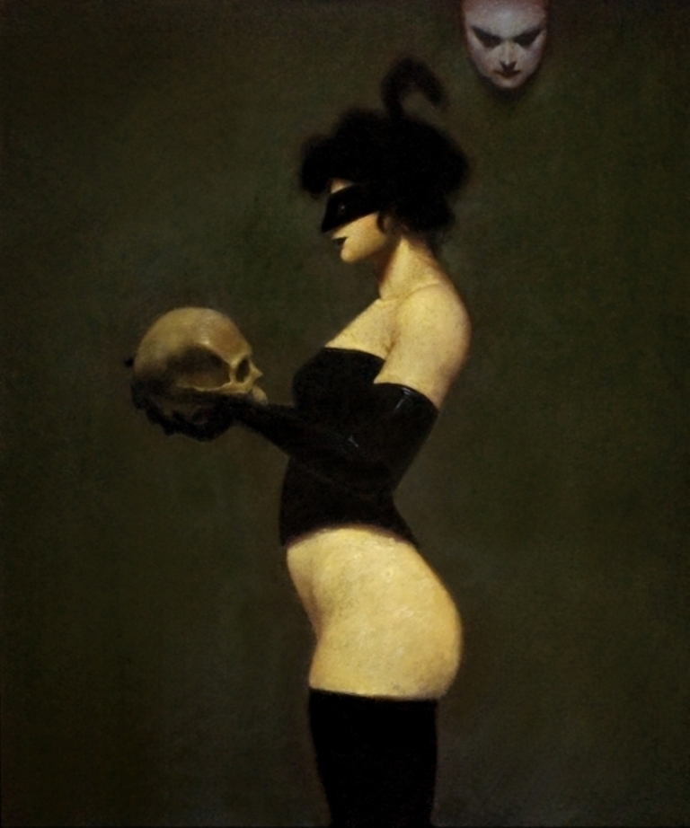 ray-donley Figure with Mask and Skull