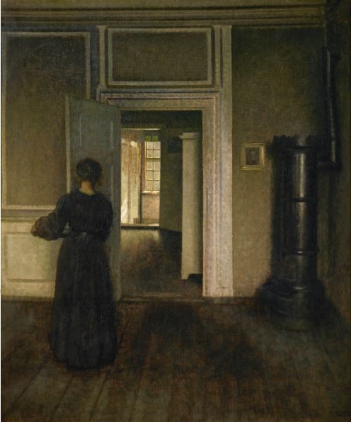 1909 vilhelm-hammershoi-interior with stove Collection privee