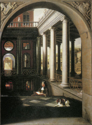 Hoogstraten 1670 ca Perspective View of a Courtyard with a Young Man Reading loc inconnue 238x175