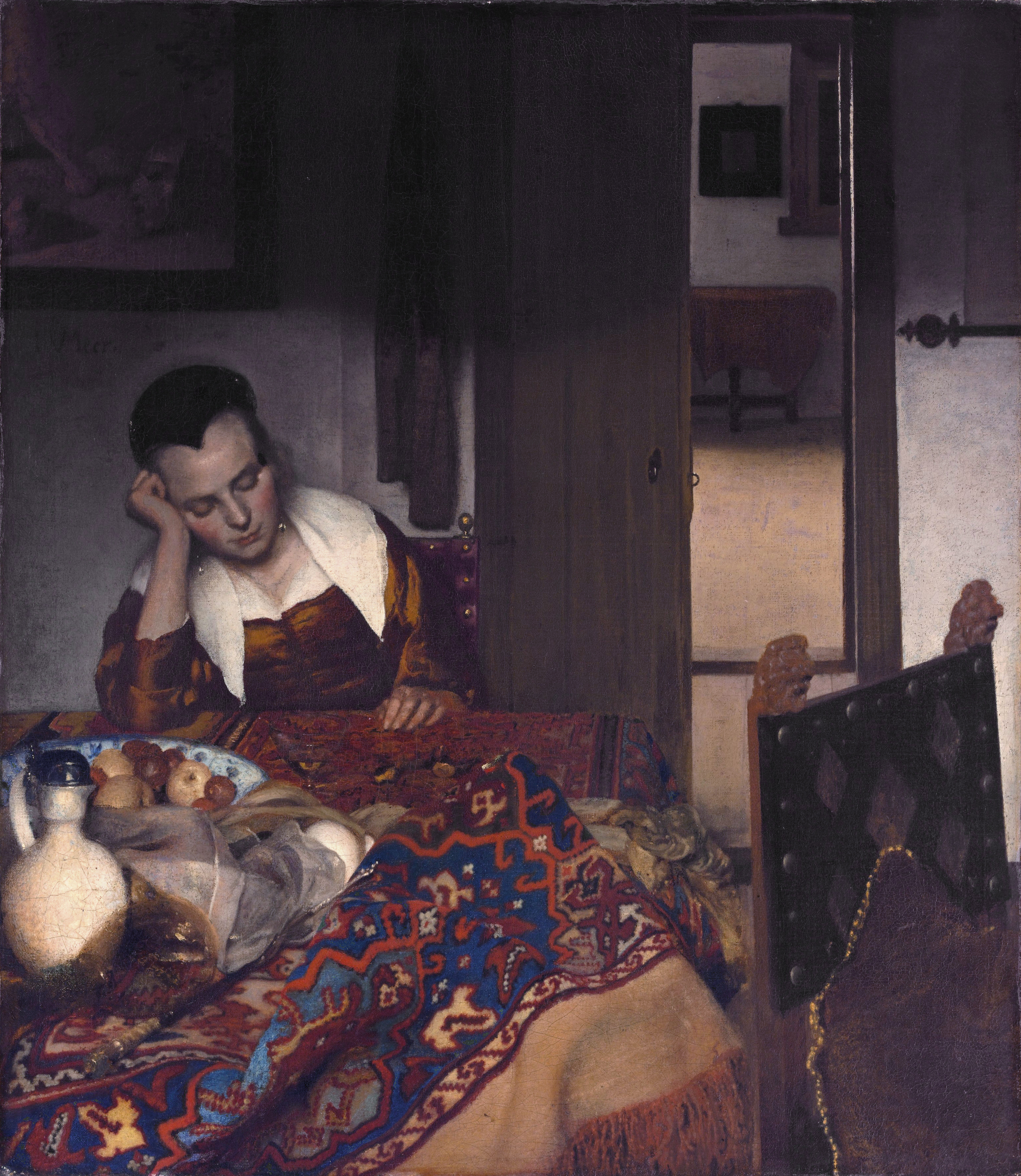 A Maid Asleep *oil on canvas *87.6 x 76.5 cm *signed c.l.:  I·VMeer·