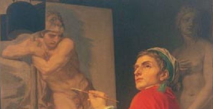 Autoportrait Domenico_Corvi 1775 Offices Florence detail