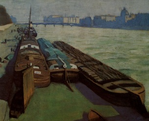 vallotton Les chalands, bords de Seine, 1901
