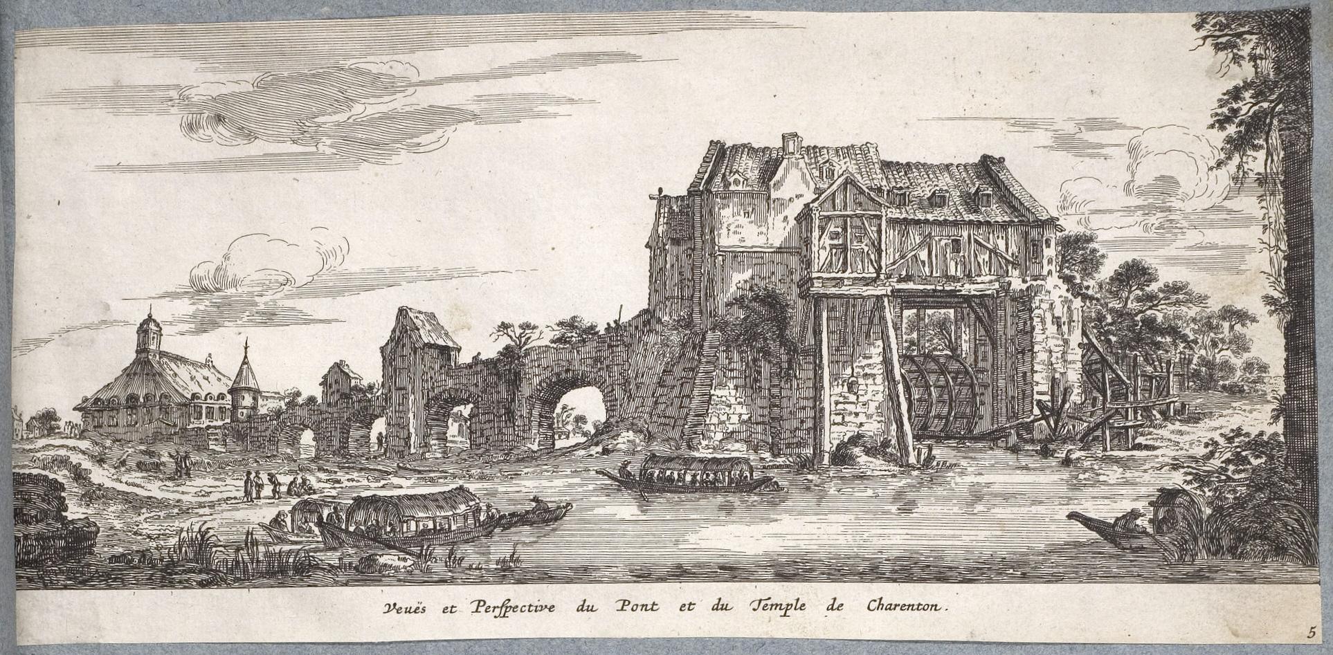 israel-silvestre-1645-vues-et-perspective-du-pont-et-du-temple-de-charenton