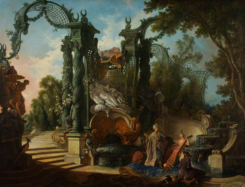de Lajoue II, Jacques, 1687-1761; Garden with Eastern Figures