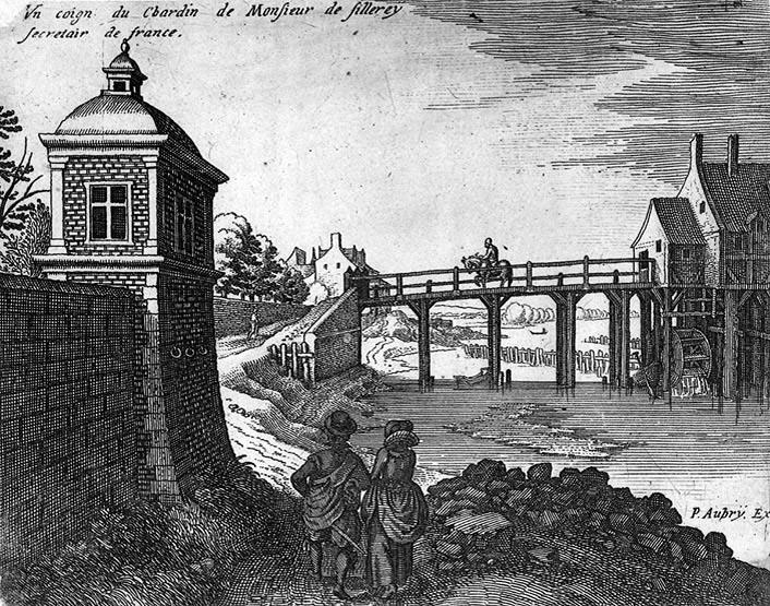 matthieu-merian-1622-le-pont-et-le-moulin-des-jardins-du-chateau-de-conflans