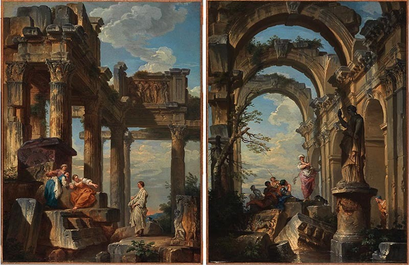 Panini 1731 Ruins with Prophet (left) and Ruins with Sibyl (right) coll priv