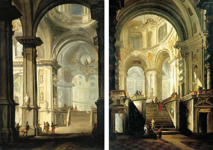 tiepolo-et-gerolamo-mengozzi-colonna-vesr-1725-coll-privee-the-interior-of-a-church-with-vestal-virgins-and-other-figures-and-the-interior-of-a-classical-library-with-figures