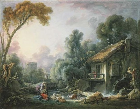 boucher-1765-le-moulin-a-eau-a-landscape-with-a-herdsman-and-his-family-by-a-mill-cpll-part