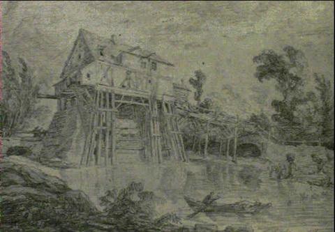 hubert-robert-paysage-au-moulin-avec-lavandieres-et-pecheur-dans-sa-barque-coll-part