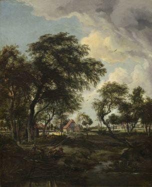 Hobbema 1668 Ferme dans un rayon de soleil NGA 81.9 x 66.4 cm