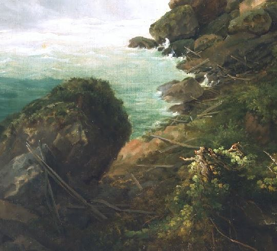 Horseshoe Falls from below the High Bank Gustav Grunewald, vers 1832, De Young Museum croix