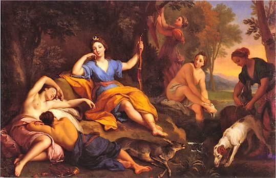 Louis de Boullogne 1707 Diane et ses compagnes se reposant après la chasse - Musee des Beaux-Arts Tours