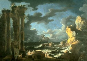 Port_of_Ostia_During_a_Tempest',_oil_on_canvas_painting_by_Leonardo_Coccorante,_1740s,_Lowe_Art_Museum