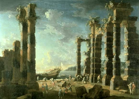 'Port_of_Ostia_in_Calm_Weather',_oil_on_canvas_painting_by_Leonardo_Cocorante,_1740s,_Lowe_Art_Museum