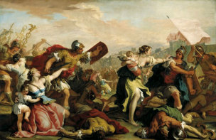 RICCI SEBASTIANO, 1700 ca Battle of the Romans and the Sabines, collections du Prince de Liechtenstein