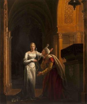 Rosalie Caron 1814 Mathilde et Malek-Adhel au tombeau de Montmorency, Monastere royal de Brou, Bourg-en-Bresse, 120 x 100 cm