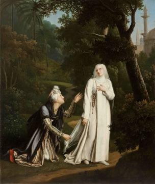 Rosalie Caron 1817 Mathilde surprise dans les jardins de Monastere royal de Brou, Bourg-en-Bresse, 120 x 100 cm