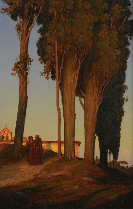 T.H. Hotchkiss 1868 CYPRESSES & CONVENT AT SAN MINIATO NEAR FLORENCE coll part