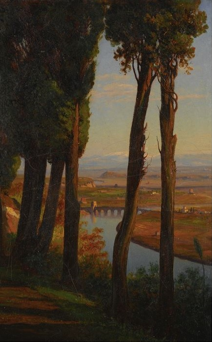 T.H. Hotchkiss 1868 CYPRESSES ON MONTE MARIO NEAR ROME coll part