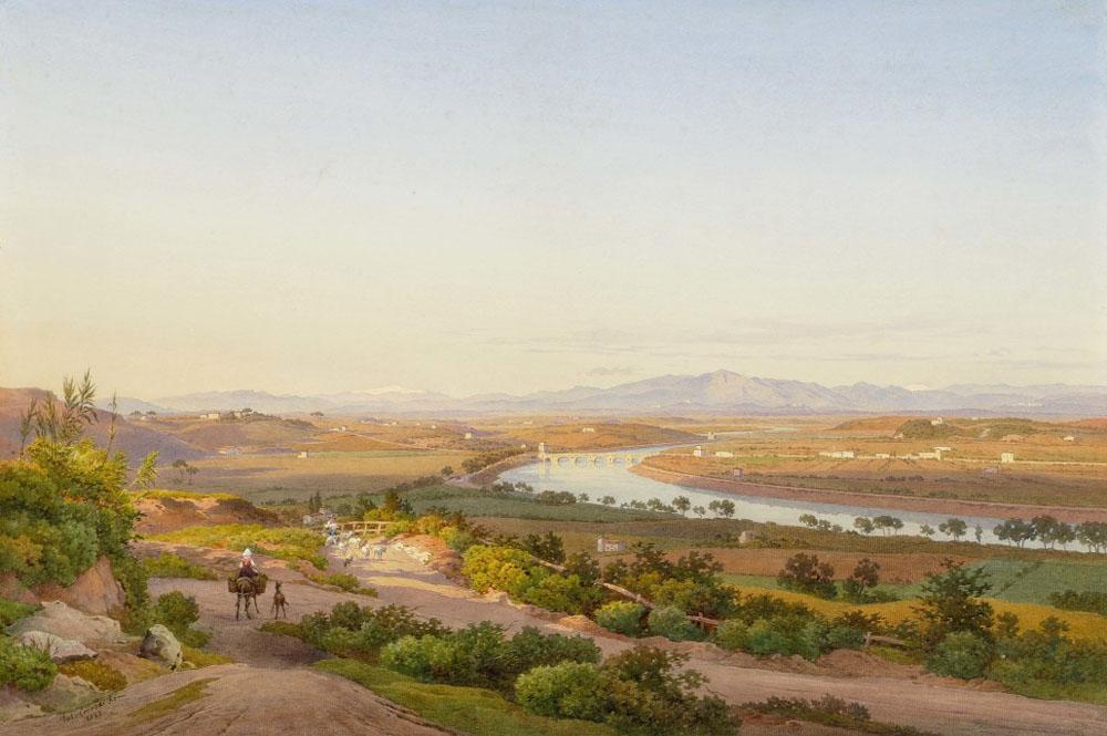 salomon corrodi - il tevere e la campagna da monte mario - 1873