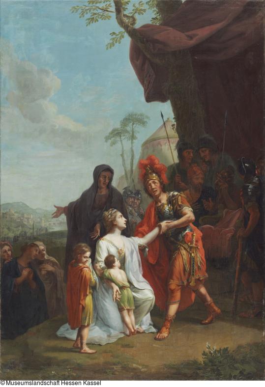 tischbein-Johann-1777-Coriolan-empfangt-seine-Mutter-und-Gemahlin-im-Lager-der-Volsker-Muesum-Kassel