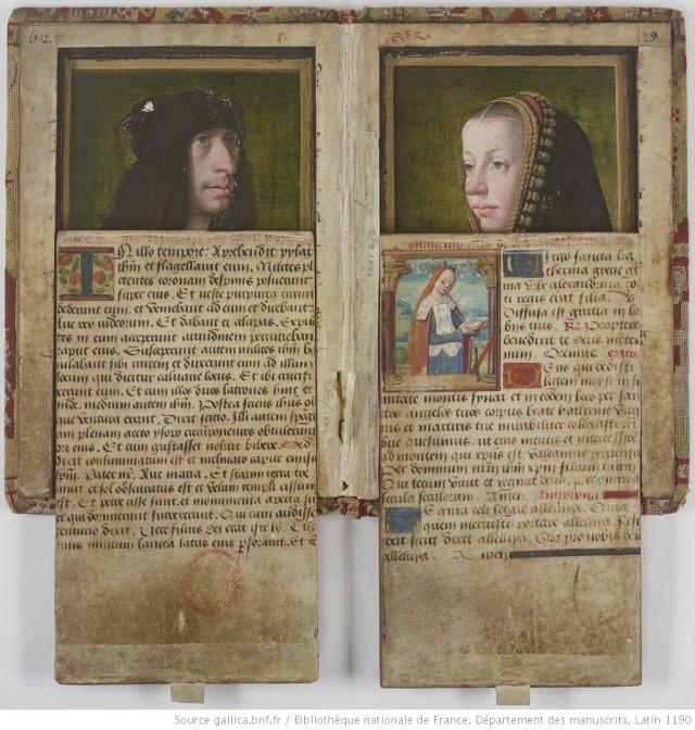 1492-95 Portraits presumes de Charles VIII et Anne de Bretagne BNF Lat 1190 demi ouvert